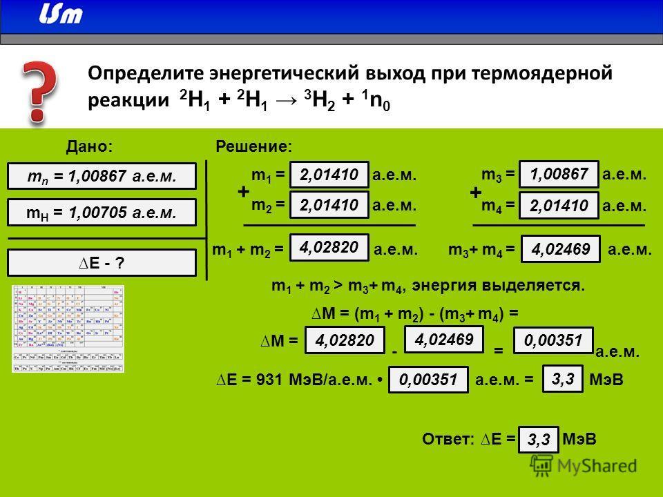 Определите энергетический выход при термоядерной реакции 2 H 1 + 2 H 1 3 H 2 + 1 n 0 2,01410 m 1 = а.е.м. 2,01410 m2 =m2 = а.е.м. 1,00867 m3 =m3 = а.е.м. 2,01410 m4 =m4 = а.е.м. + + 4,02820 а.е.м.m 1 + m 2 =m 3 + m 4 = а.е.м. 4,02469 m 1 + m 2 > m 3