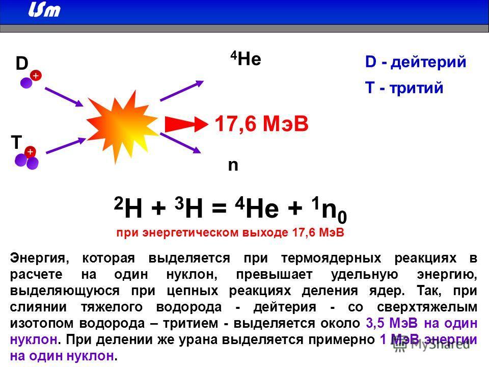 2 H + 3 H = 4 He + 1 n 0 при энергетическом выходе 17,6 МэВ 17,6 МэВ D T n 4 He Энергия, которая выделяется при термоядерных реакциях в расчете на один нуклон, превышает удельную энергию, выделяющуюся при цепных реакциях деления ядер. Так, при слияни