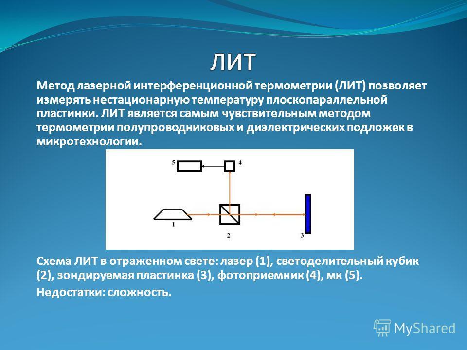 Метод лазерной интерференционной термометрии (ЛИТ) позволяет измерять нестационарную температуру плоскопараллельной пластинки. ЛИТ является самым чувствительным методом термометрии полупроводниковых и диэлектрических подложек в микротехнологии. Схема