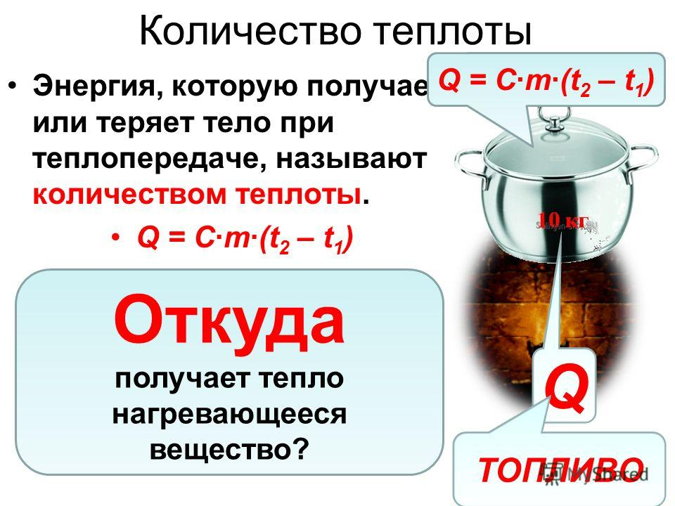 Количество теплоты Энергия, которую получает или теряет тело при теплопередаче, называют количеством теплоты. Q = C·m·(t 2 – t 1 ) Откуда получает тепло нагревающееся вещество? Q ТОПЛИВО