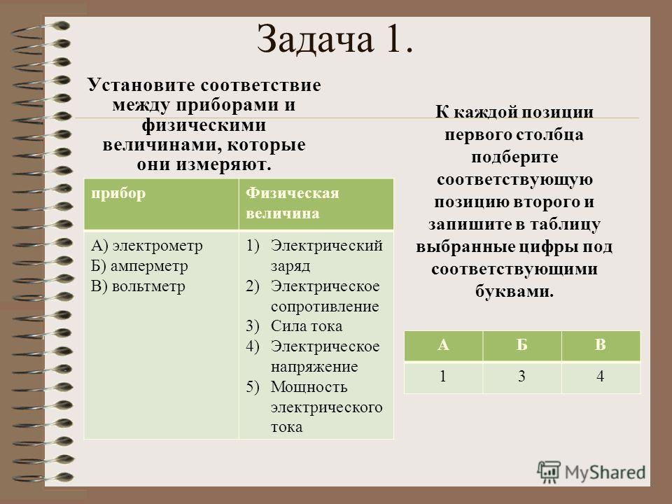 Задача 1. Установите соответствие между приборами и физическими величинами, которые они измеряют. прибор Физическая величина А) электрометр Б) амперметр В) вольтметр 1)Электрический заряд 2)Электрическое сопротивление 3)Сила тока 4)Электрическое напр