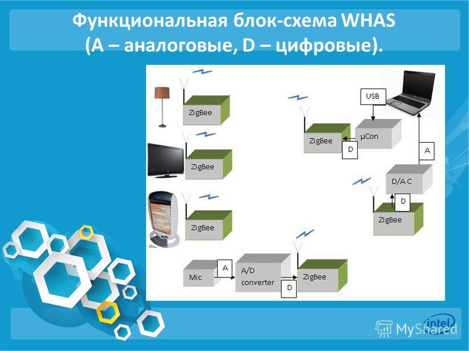 Функциональная блок-схема WHAS (A – аналоговые, D – цифровые).