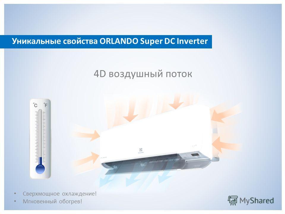 Уникальные свойства ORLANDO Super DC Inverter 4D воздушный поток Сверхмощное охлаждение! Мгновенный обогрев!