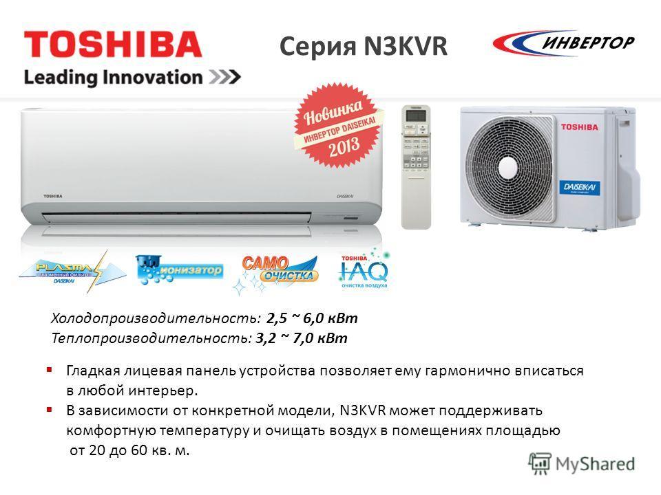 Серия N3KVR Холодопроизводительность: 2,5 ~ 6,0 к Вт Теплопроизводительность: 3,2 ~ 7,0 к Вт Гладкая лицевая панель устройства позволяет ему гармонично вписаться в любой интерьер. В зависимости от конкретной модели, N3KVR может поддерживать комфортну