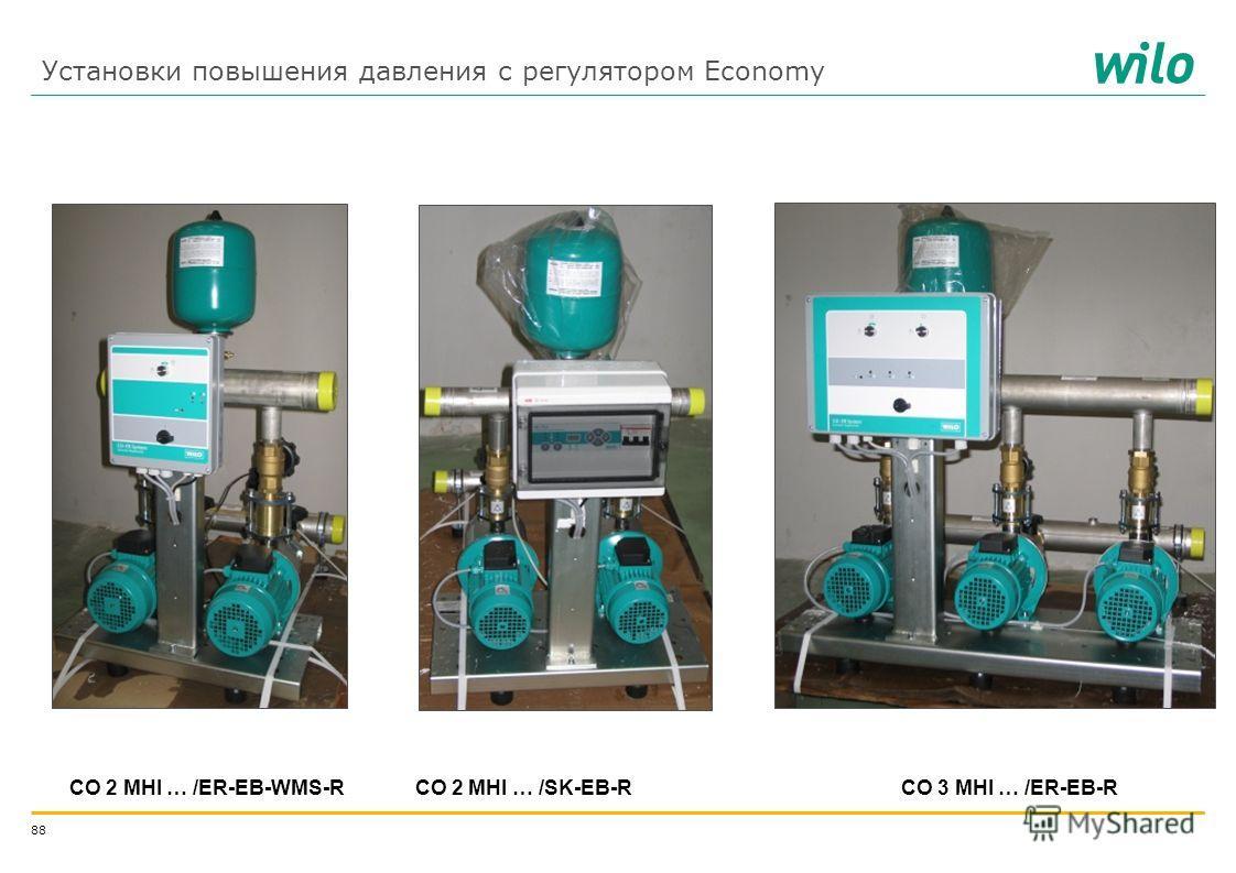 87 Установки повышения давления WILO-Economy Схема функционирования установок с регулятором Economy