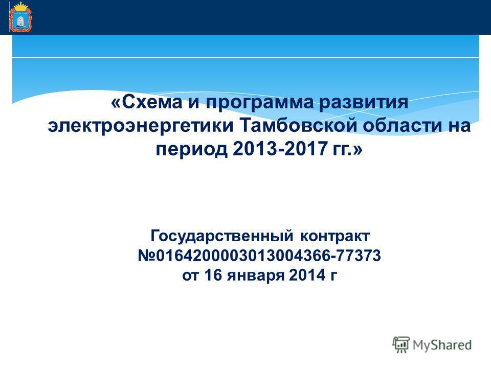 «Схема и программа развития электроэнергетики Тамбовской области на период 2013-2017 гг.» Государственный контракт 0164200003013004366-77373 от 16 января 2014 г