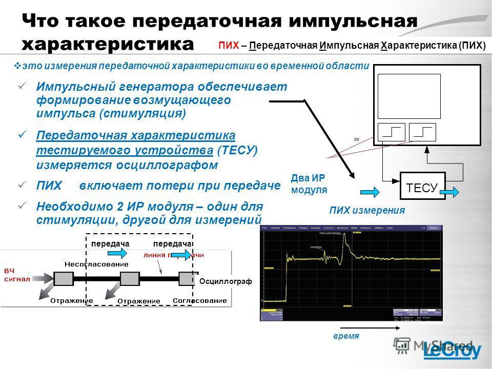 Что такое передаточная импульсная характеристика Импульсный генератора обеспечивает формирование возмущающего импульса (стимуляция) Передаточная характеристика тестируемого устройства (ТЕСУ) измеряется осциллографом ПИХ включает потери при передаче Н