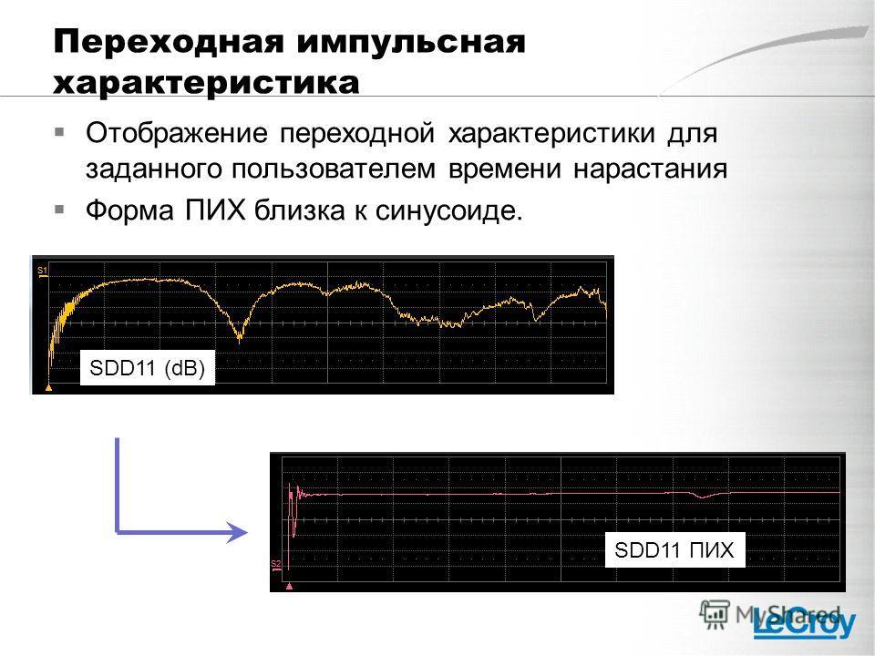 Переходная импульсная характеристика Отображение переходной характеристики для заданного пользователем времени нарастания Форма ПИХ близка к синусоиде. SDD11 (dB) SDD11 ПИХ