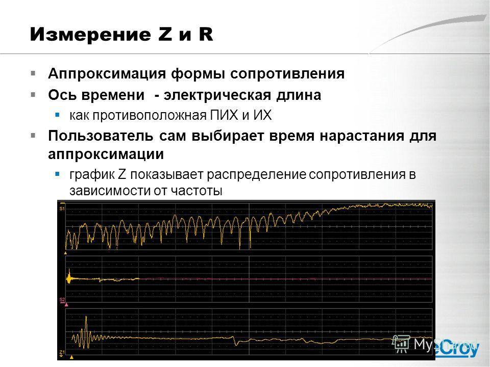 Измерение Z и R Аппроксимация формы сопротивления Ось времени - электрическая длина как противоположная ПИХ и ИХ Пользователь сам выбирает время нарастания для аппроксимации график Z показывает распределение сопротивления в зависимости от частоты