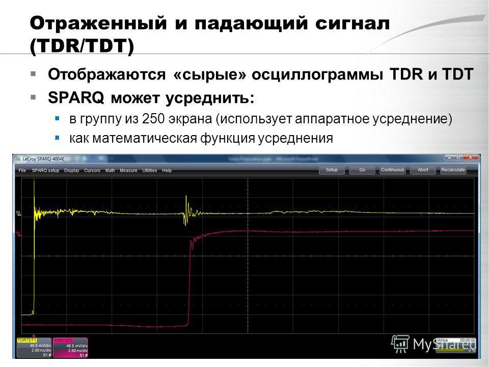 Отраженный и падающий сигнал (TDR/TDT) Отображаются «сырые» осциллограммы TDR и TDT SPARQ может усреднить: в группу из 250 экрана (использует аппаратное усреднение) как математическая функция усреднения