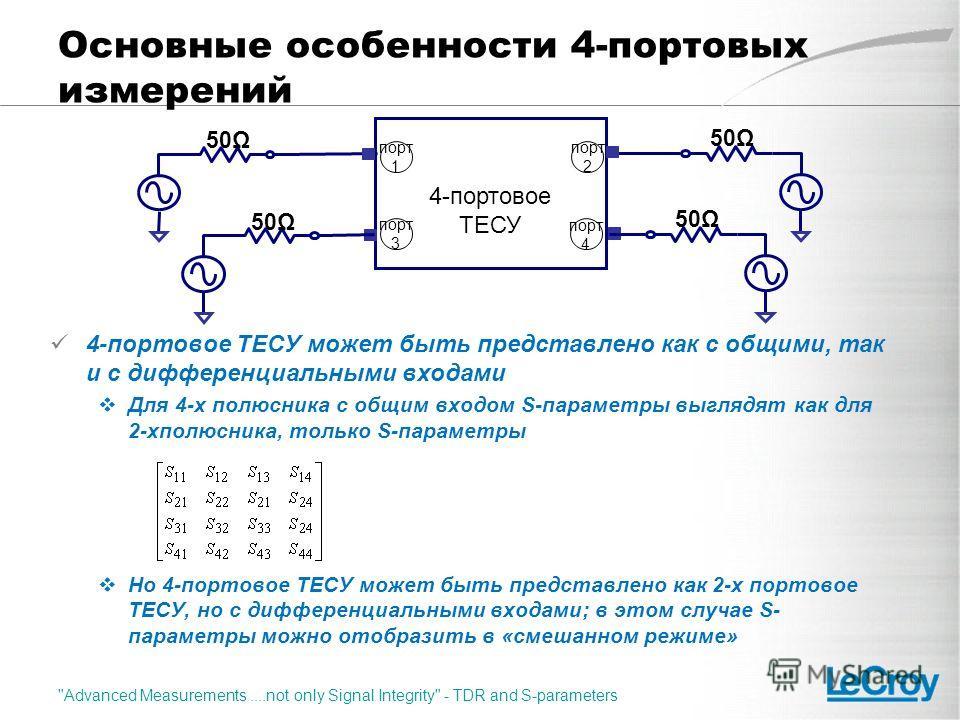 Основные особенности 4-портовых измерений 4-портовое ТЕСУ может быть представлено как с общими, так и с дифференциальными входами Для 4-х полюсника с общим входом S-параметры выглядят как для 2-хполюсника, только S-параметры Но 4-портовое ТЕСУ может