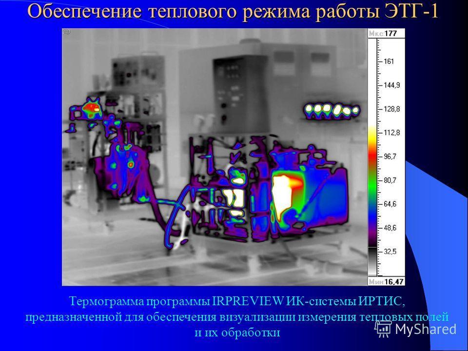 Обеспечение теплового режима работы ЭТГ-1 Термограмма программы IRPREVIEW ИК-системы ИРТИС, предназначенной для обеспечения визуализации измерения тепловых полей и их обработки