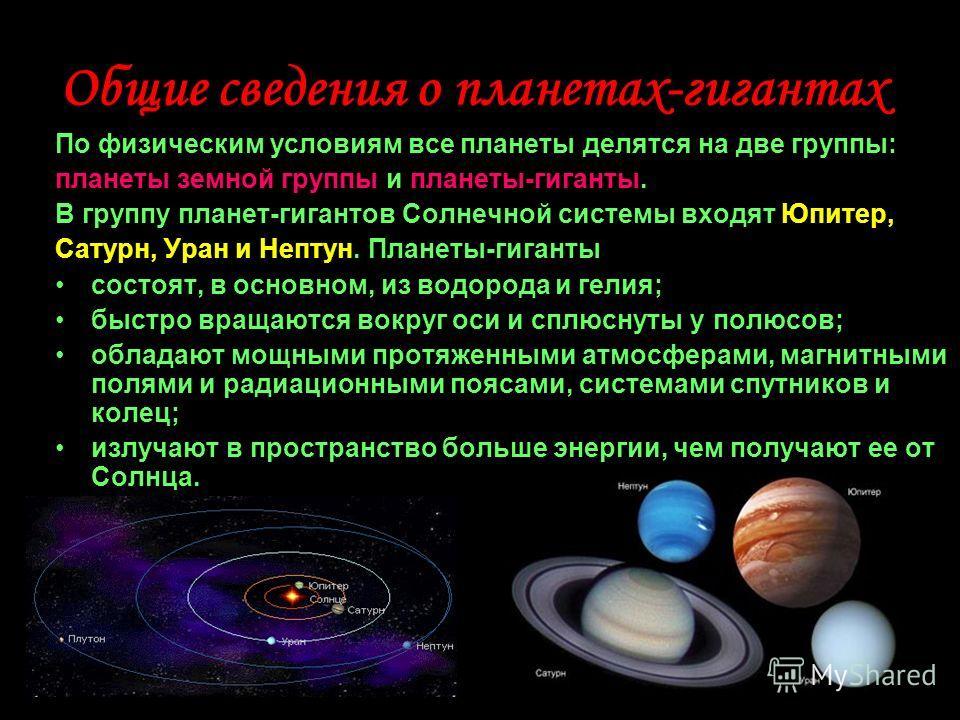 Общие сведения о планетах-гигантах По физическим условиям все планеты делятся на две группы: планеты земной группы и планеты-гиганты. В группу планет-гигантов Солнечной системы входят Юпитер, Сатурн, Уран и Нептун. Планеты-гиганты состоят, в основном