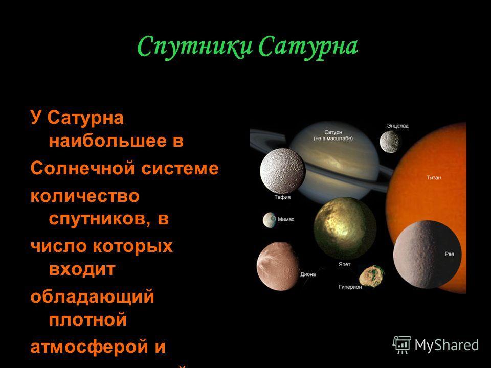 Спутники Сатурна У Сатурна наибольшее в Солнечной системе количество спутников, в число которых входит обладающий плотной атмосферой и углеводородной гидросферой планетоид Титан.