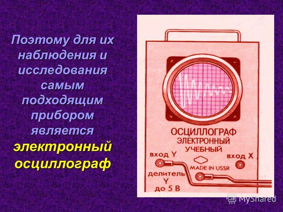 Поэтому для их наблюдения и исследования самым подходящим прибором является электронный осциллограф