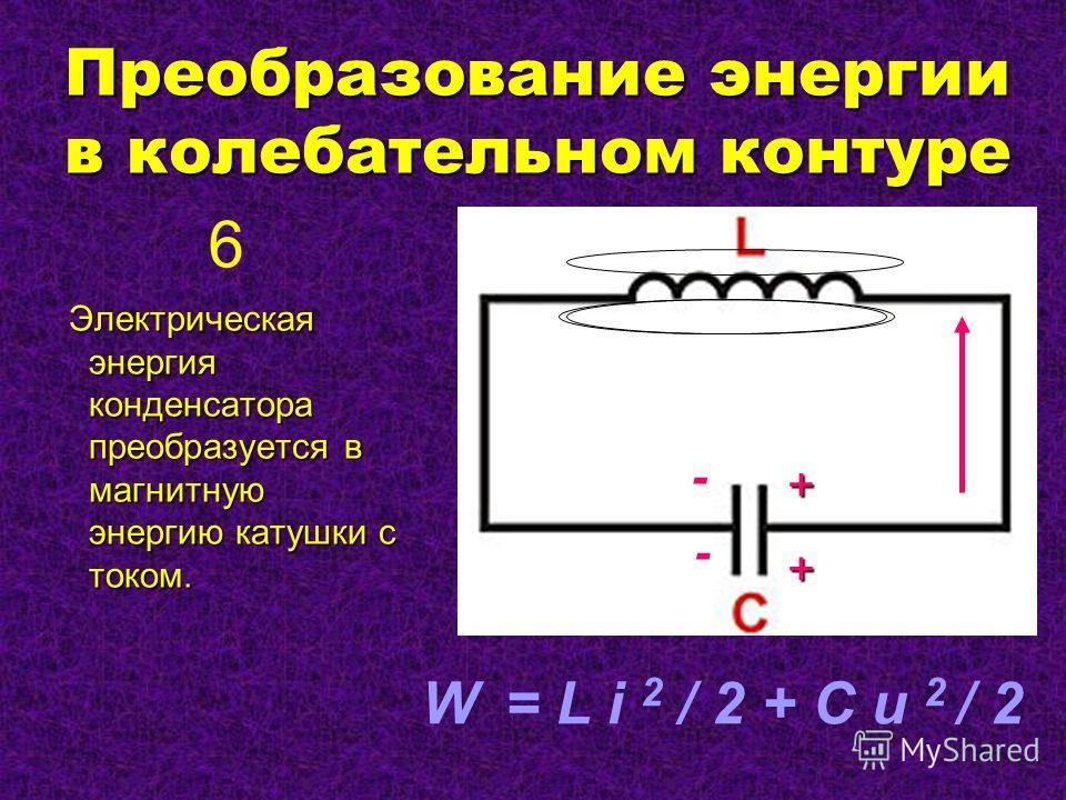 Преобразование энергии в колебательном контуре Электрическая энергия конденсатора преобразуется в магнитную энергию катушки с током. Электрическая энергия конденсатора преобразуется в магнитную энергию катушки с током. - W = L i 2 / 2 + C u 2 / 2 6 -