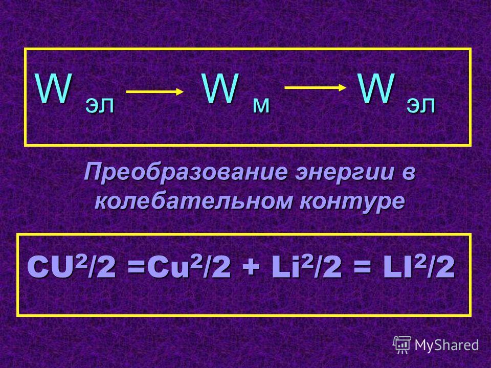 CU 2 /2 =Cu 2 /2 + Li 2 /2 = LI 2 /2 W эл W м W эл Преобразование энергии в колебательном контуре