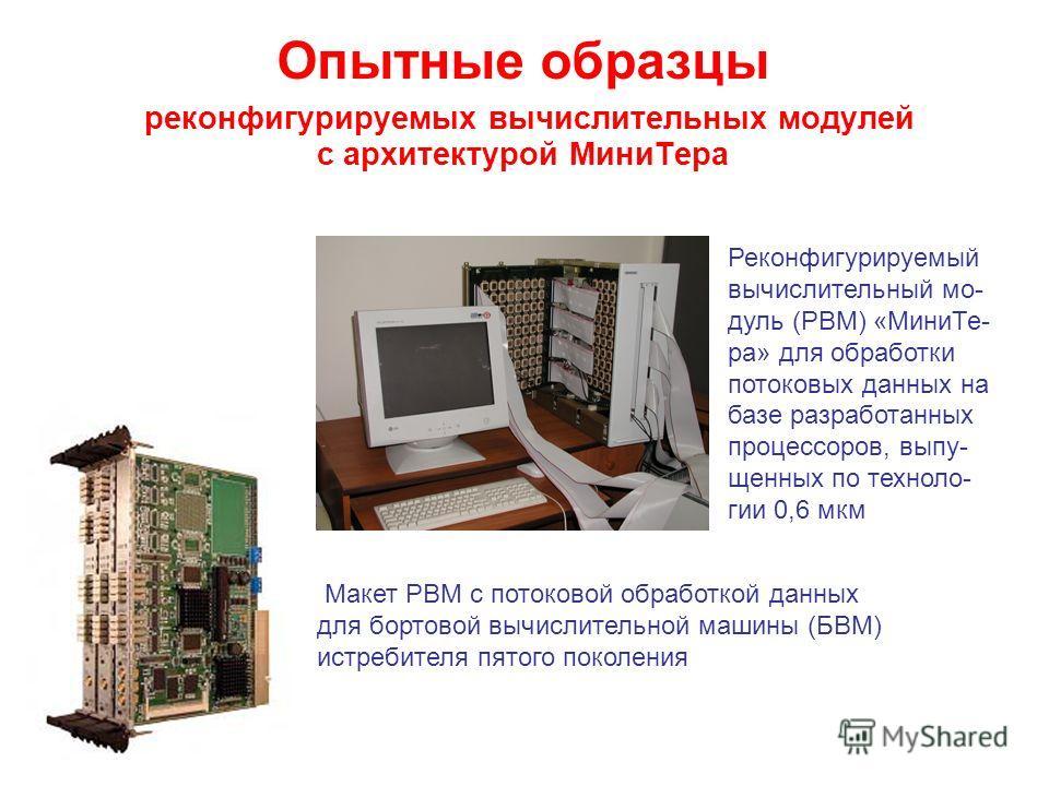 Опытные образцы реконфигурируемых вычислительных модулей с архитектурой Мини Тера Реконфигурируемый вычислительный мо- дуль (РВМ) «Мини Те- ра» для обработки потоковых данных на базе разработанных процессоров, выпу- щенных по техноло- гии 0,6 мкм Мак