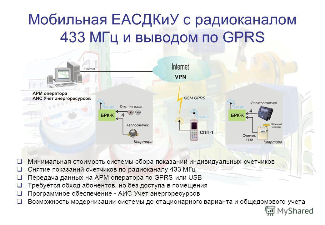 Мобильная ЕАСДКиУ с радиоканалом 433 МГц и выводом по GPRS Минимальная стоимость системы сбора показаний индивидуальных счетчиков Снятие показаний счетчиков по радиоканалу 433 МГц Передача данных на АРМ оператора по GPRS или USB Требуется обход абоне