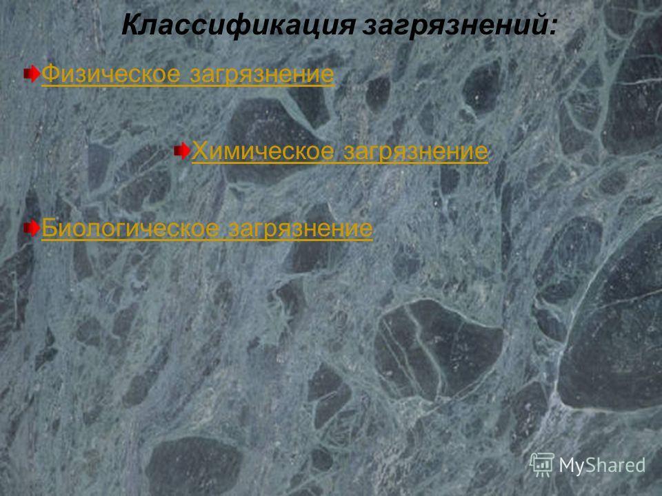 Загрязнение биологическое биотическое генная инженерия микробиологическое СПАВ пластмассы пестициды тяжелые металлы хим.вещества аэрозоли химическое радиоактивное световое электромагнитное шумовое тепловое физическое Типы загрязнений окружающей среды