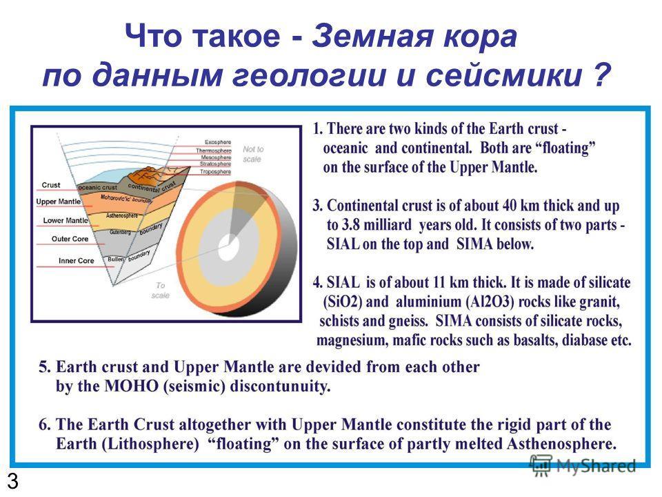 3 Что такое - Земная кора по данным геологии и сейсмики ?