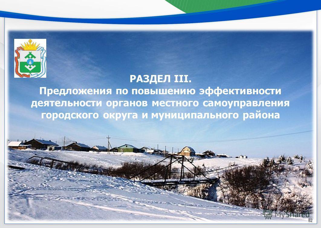 РАЗДЕЛ III. Предложения по повышению эффективности деятельности органов местного самоуправления городского округа и муниципального района 82