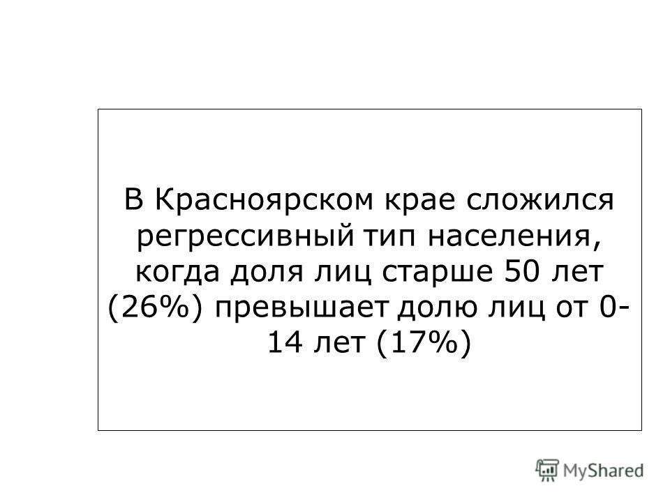В Красноярском крае сложился регрессивный тип населения, когда доля лиц старше 50 лет (26%) превышает долю лиц от 0- 14 лет (17%)