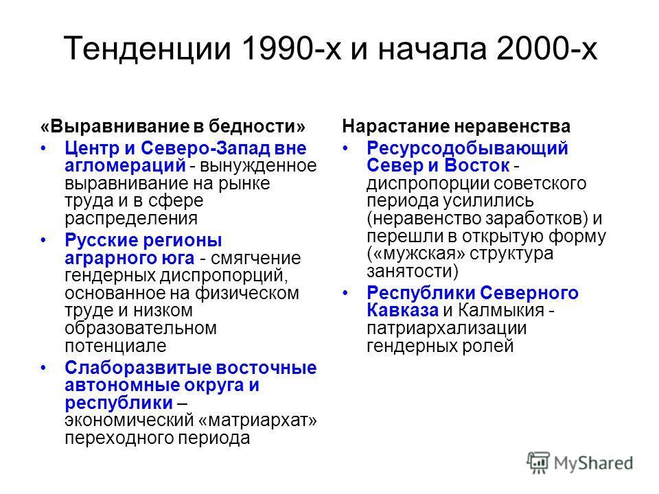 Тенденции 1990-х и начала 2000-х «Выравнивание в бедности» Центр и Северо-Запад вне агломераций - вынужденное выравнивание на рынке труда и в сфере распределения Русские регионы аграрного юга - смягчение гендерных диспропорций, основанное на физическ