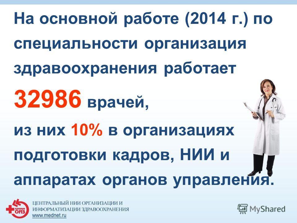 На основной работе (2014 г.) по специальности организация здравоохранения работает 32986 врачей, из них 10% в организациях подготовки кадров, НИИ и аппаратах органов управления.