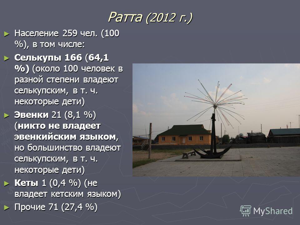 Ратта (2012 г.) Население 259 чел. (100 %), в том числе: Население 259 чел. (100 %), в том числе: Селькупы 166 (64,1 %) (около 100 человек в разной степени владеют селькупским, в т. ч. некоторые дети) Селькупы 166 (64,1 %) (около 100 человек в разной