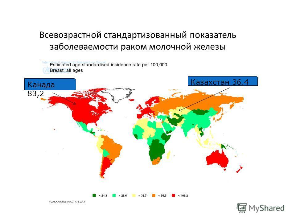 Казахстан 36,4 Канада 83,2 GLOBOCAN 2008 Всевозрастной стандартизованный показатель заболеваемости раком молочной железы