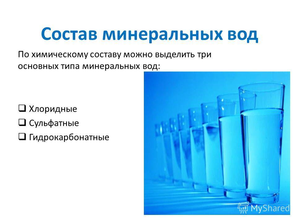Состав минеральных вод По химическому составу можно выделить три основных типа минеральных вод: Хлоридные Сульфатные Гидрокарбонатные