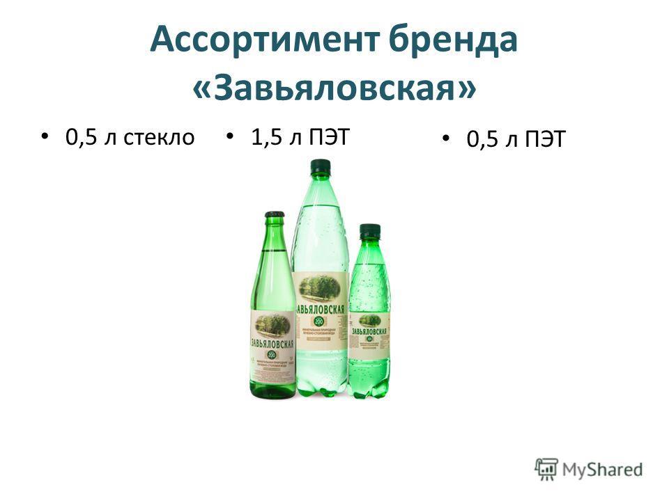 Ассортимент бренда «Завьяловская» 0,5 л стекло 1,5 л ПЭТ 0,5 л ПЭТ