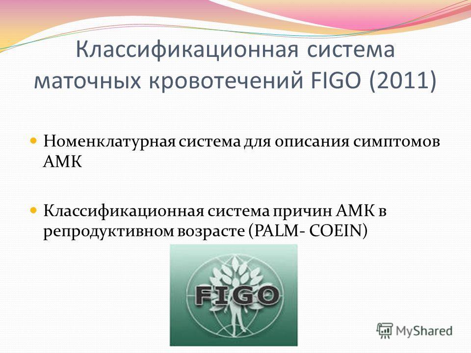 Классификационная система маточных кровотечений FIGO (2011) Номенклатурная система для описания симптомов АМК Классификационная система причин АМК в репродуктивном возрасте (PALM- COEIN)