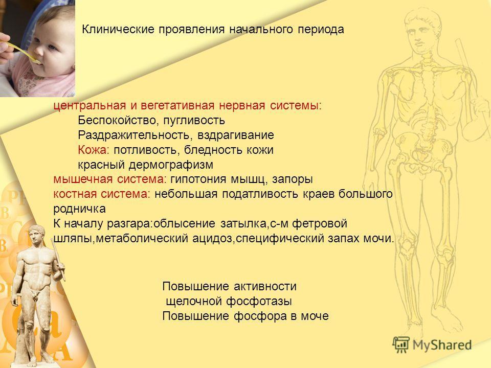 Клинические проявления начального периода центральная и вегетативная нервная системы: Беспокойство, пугливость Раздражительность, вздрагивание Кожа: потливость, бледность кожи красный дермографизм мышечная система: гипотония мышц, запоры костная сист