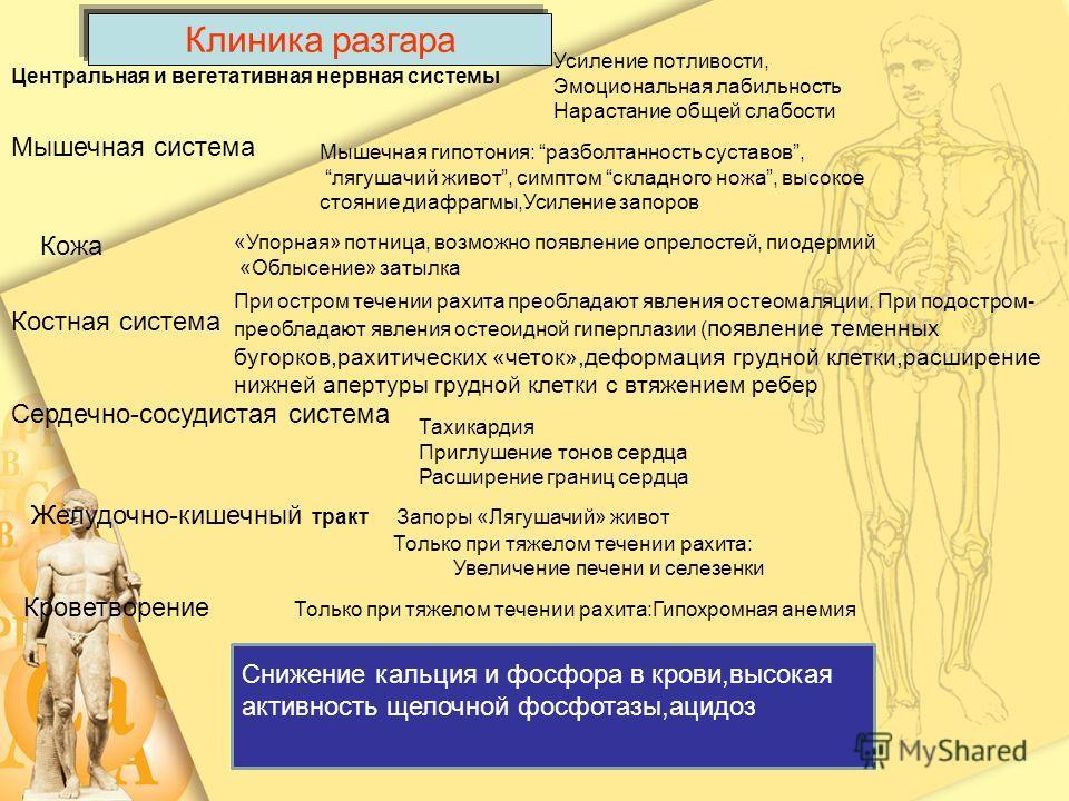 Центральная и вегетативная нервная системы Усиление потливости, Эмоциональная лабильность Нарастание общей слабости Мышечная система Мышечная гипотония: разболтанность суставов, лягушачий живот, симптом складного ножа, высокое стояние диафрагмы,Усиле