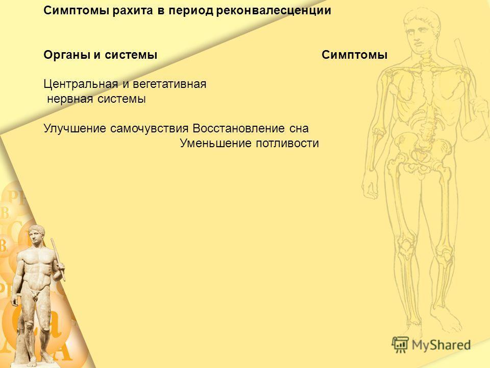 Центральная и вегетативная нервная системы Усиление потливости, Эмоциональная лабильность Нарастание общей слабости Отставание в психомоторном развитии Мышечная система Мышечная гипотония: разболтанность суставов, лягушачий живот, симптом складного н