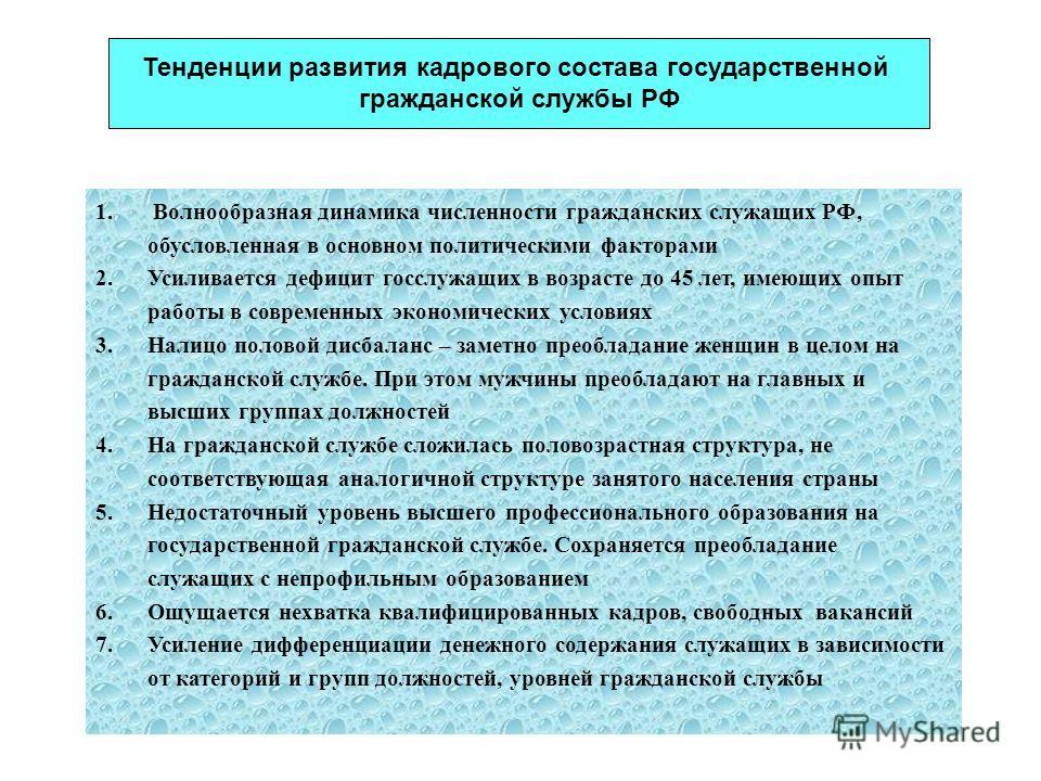 1. Волнообразная динамика численности гражданских служащих РФ, обусловленная в основном политическими факторами 2. Усиливается дефицит госслужащих в возрасте до 45 лет, имеющих опыт работы в современных экономических условиях 3. Налицо половой дисбал