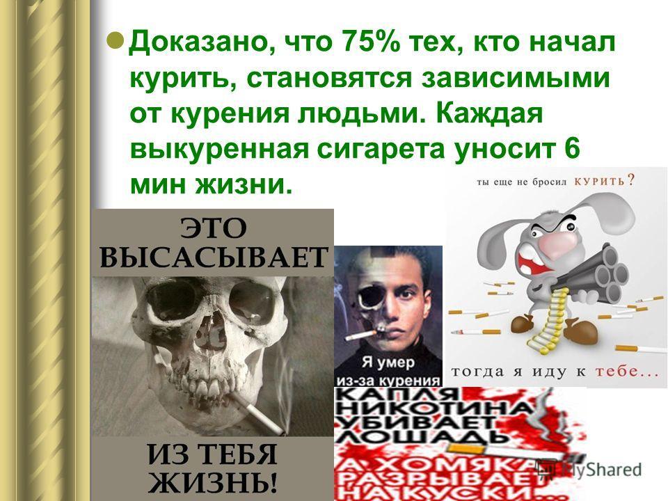 9.04-13.04 2011-2012 уч. г Неделя математики Доказано, что 75% тех, кто начал курить, становятся зависимыми от курения людьми. Каждая выкуренная сигарета уносит 6 мин жизни.