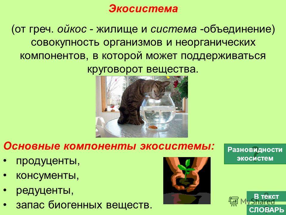 Экосистема (от греч. ойкос - жилище и система -объединение) совокупность организмов и неорганических компонентов, в которой может поддерживаться круговорот вещества. Основные компоненты экосистемы: продуценты, консументы, редуценты, запас биогенных в