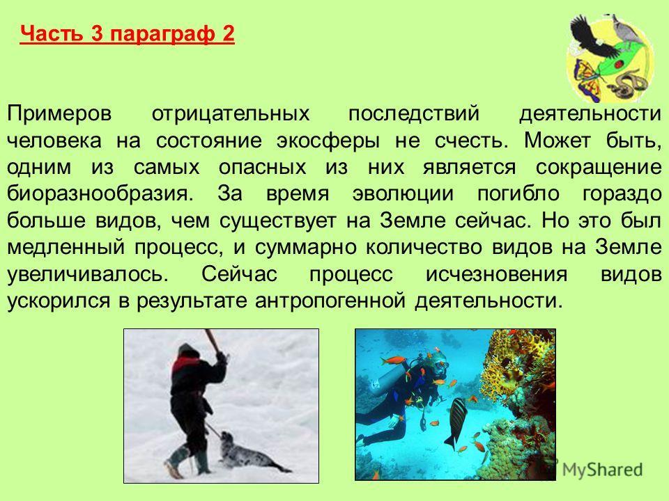 Часть 3 параграф 2 Примеров отрицательных последствий деятельности человека на состояние экосферы не счесть. Может быть, одним из самых опасных из них является сокращение биоразнообразия. За время эволюции погибло гораздо больше видов, чем существует