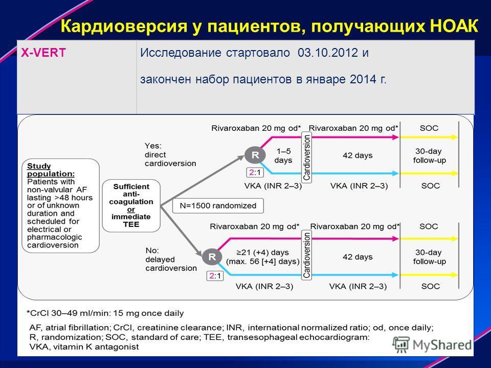 Кардиоверсия у пациентов, получающих НОАК X-VERTИсследование стартовало 03.10.2012 и закончен набор пациентов в январе 2014 г.
