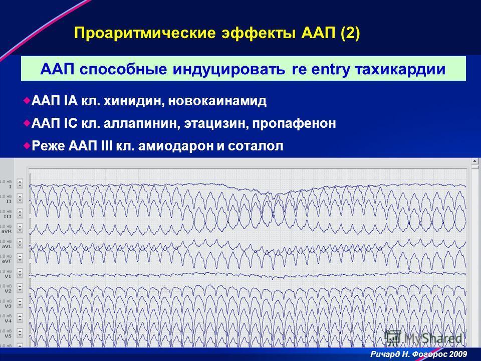 Проаритмические эффекты ААП (2) ААП IA кл. хинидин, новокаинамид ААП IC кл. аллапинин, этацизин, пропафенон Реже ААП III кл. амиодарон и соталол ААП способные индуцировать re entry тахикардии Ричард Н. Фогорос 2009