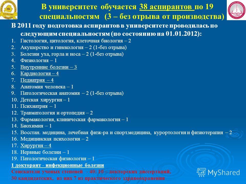 В университете обучается 38 аспирантов по 19 специальностям (3 – без отрыва от производства) В 2011 году подготовка аспирантов в университете проводилась по следующим специальностям (по состоянию на 01.01.2012): 1.Гистология, цитология, клеточная био