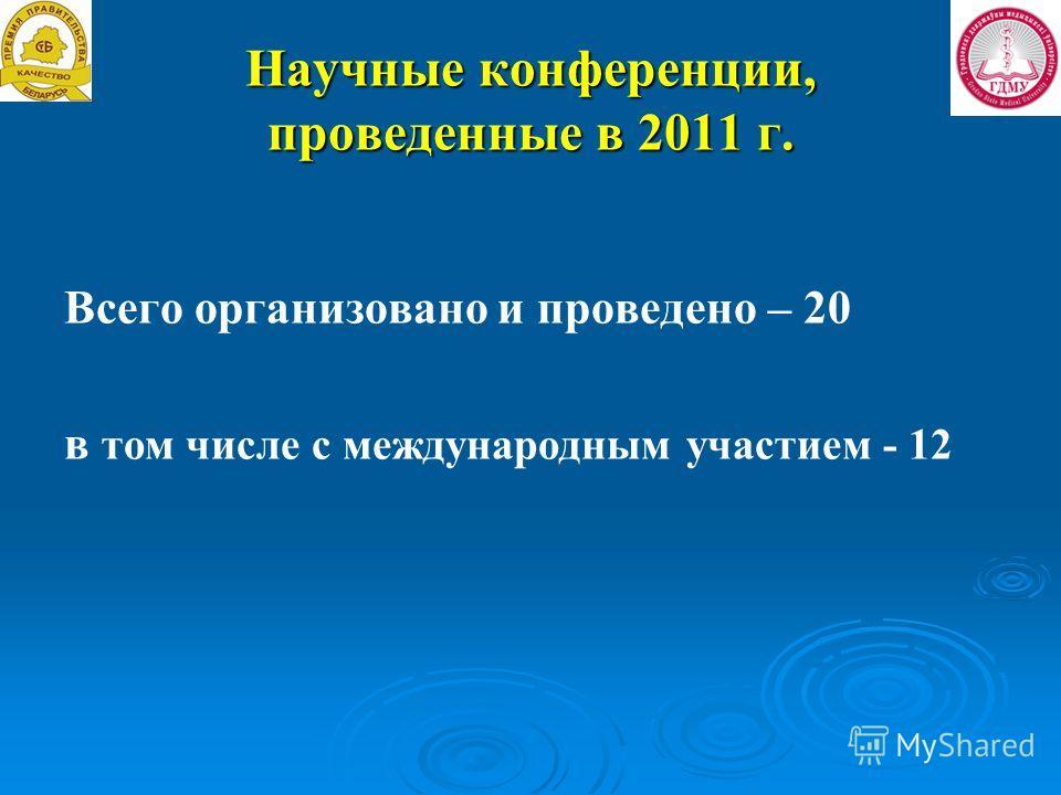 Научные конференции, проведенные в 2011 г. Всего организовано и проведено – 20 в том числе с международным участием - 12
