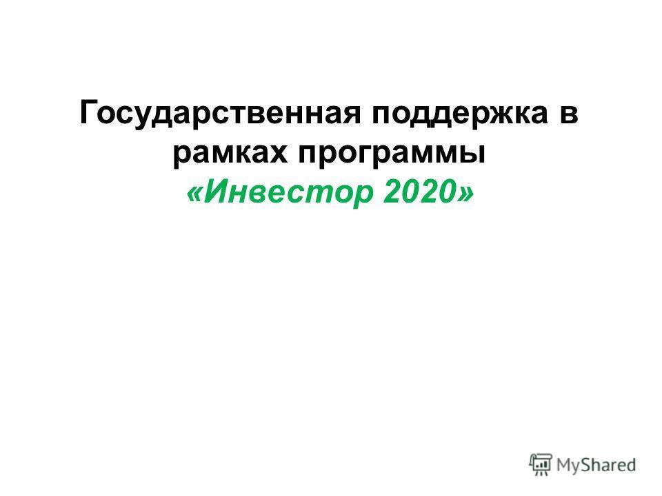 Государственная поддержка в рамках программы «Инвестор 2020»