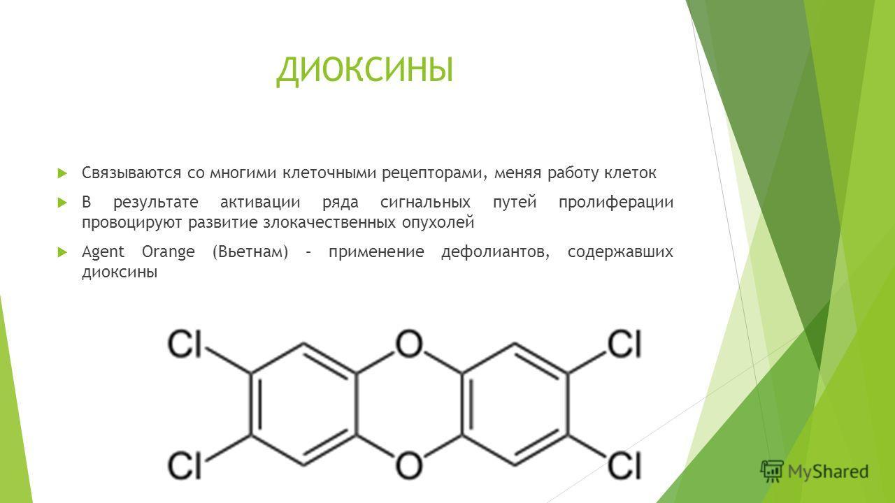 ДИОКСИНЫ Связываются со многими клеточными рецепторами, меняя работу клеток В результате активации ряда сигнальных путей пролиферации провоцируют развитие злокачественных опухолей Agent Orange (Вьетнам) – применение дефолиантов, содержавших диоксины