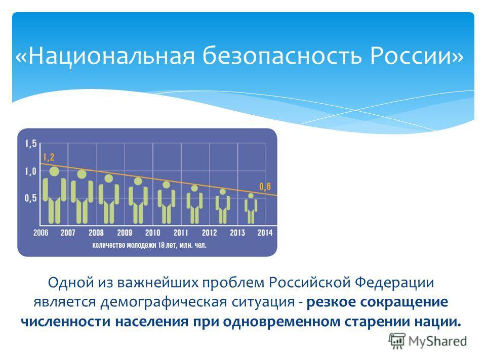 Одной из важнейших проблем Российской Федерации является демографическая ситуация - резкое сокращение численности населения при одновременном старении нации. «Национальная безопасность России»
