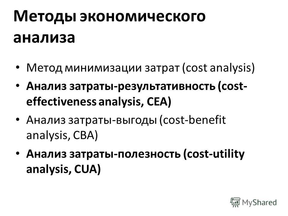 Методы экономического анализа Метод минимизации затрат (cost analysis) Анализ затраты-результативность (cost- effectiveness analysis, CEA) Анализ затраты-выгоды (cost-benefit analysis, CBA) Анализ затраты-полезность (cost-utility analysis, CUA)