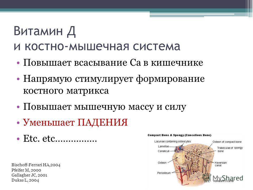 Витамин Д и костно-мышечная система Повышает всасывание Са в кишечнике Напрямую стимулирует формирование костного матрикса Повышает мышечную массу и силу Уменьшает ПАДЕНИЯ Etc. etc................ Bischoff-Ferrari HA,2004 Pfeifer M, 2000 Gallagher JC